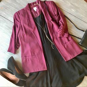 Lauren Conrad 3/4 Sleeve Blazer, Wine Colored